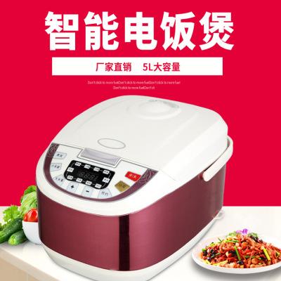 厂家直销不锈钢电饭煲5L定时方形多功能厨房家用电器礼品智能电饭