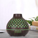亚马逊400ml木纹镂空香薰机超声波花瓶加湿器 家用环保七彩香薰灯
