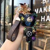欧美潮流钥匙扣个性小熊皮质钥匙扣创意汽车钥匙链男女情侣包挂件